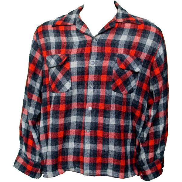 1950s XL Shirt Wool Plaid Mens Rockabilly Emo Unisex Black Red Gray... (215 BRL) ❤ liked on Polyvore featuring men's fashion, men's clothing, 1950s, mens clothing, hipster mens clothing, vintage men's fashion and rockabilly mens clothing