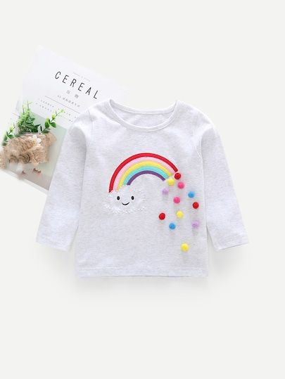 22cfdf7c84 Toddler Girls Rainbow Patched Pom Pom Detail Tee #fall #fashion #trends  #styles #shein #kidsfashion #kidscloths #kidsgirlcloths kids clothes for  girls