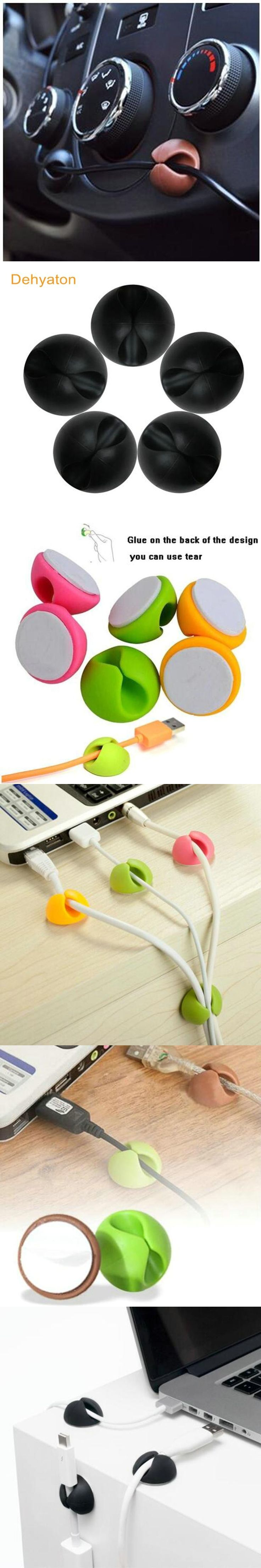 Dehyaton Round Colorful Smart Cable Drop Clip Desk Organiser Wire Cord Lead USB Charger Cord Holder Organizer Holder protector