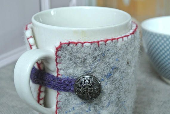 Gray Wool Cup Cozy With Purple Edge And Lilac Eyelet  Adorned With Metalic Button, Estonian Design by Kribel