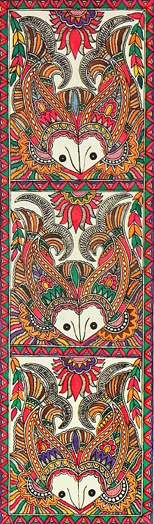 Fish Motifs (Madhubani Folk Art on Paper - Unframed))