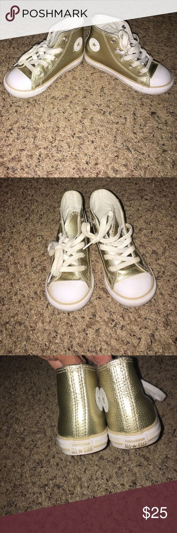 Toddler Converse, metallic gold high top US 8 Toddler Converse, metallic gold high top US 8 Converse Shoes Sneakers