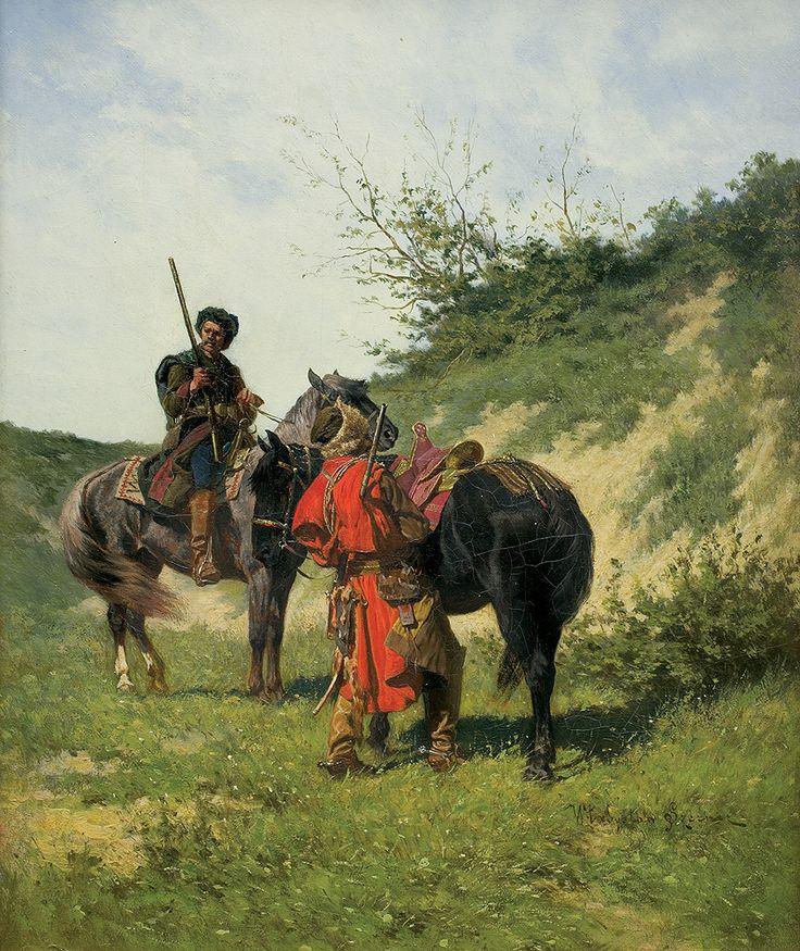 """Władysław Szerner (Polish, 1836-1915): """"Lisowczycyon the Road"""",oil on canvas, c. 1884.Lisowczycy were Polish mercenary units from 17th century, first organized around 1604 by Aleksander Józef Lisowski who gave the units the name."""