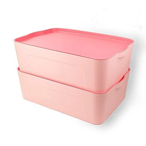 Cand Plastic Stackable Storage Boxes with Lid 18quart Heavy Duty Blind 17 X 11 X 5 set of 2 Pink * For more information, visit image link.