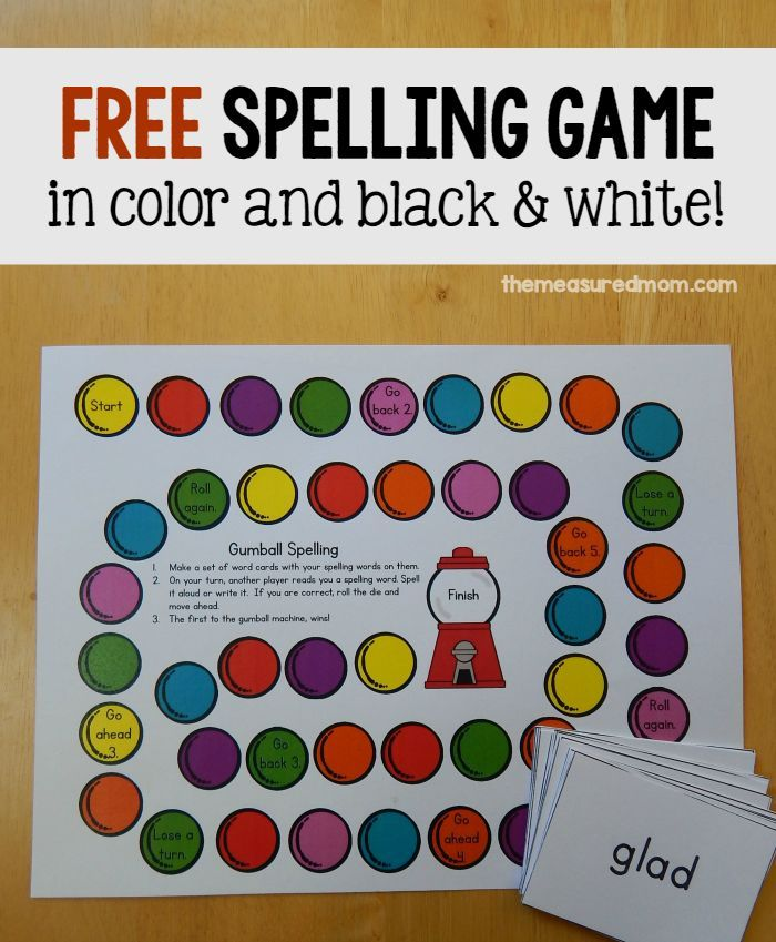 Looking for a free spelling activity?  Just write words on cards and print this free spelling game for some colorful practice.