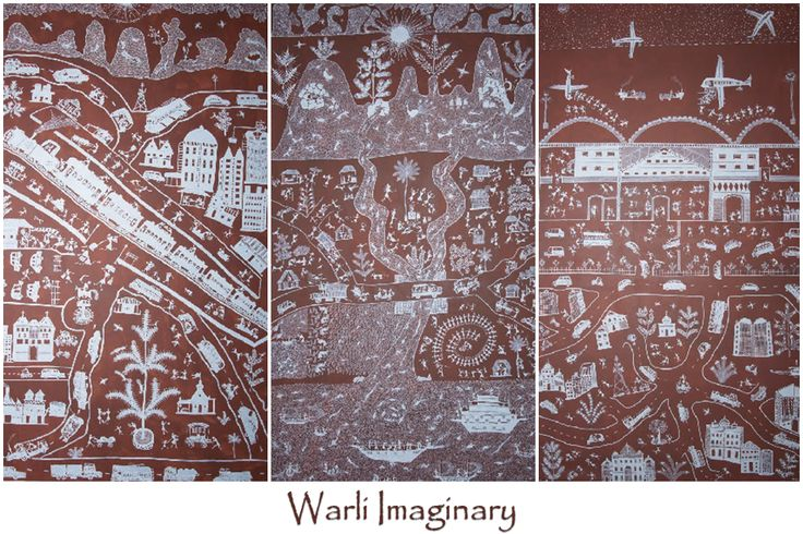 Warli Art Painting titled- 'Warli Imaginary' created by Kishore Sadashiv Mahshye!  #Warli #Art #Painting #Tribal #TribalArt #Heritage #Museum #Exhbit #Artist #IncredibleIndia