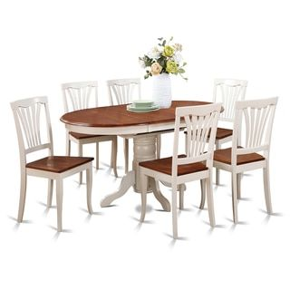7-piece Oval Dining Room Table with Leaf and Dining Chairs - 17410232 - Overstock.com Shopping - Big Discounts on Dining Sets
