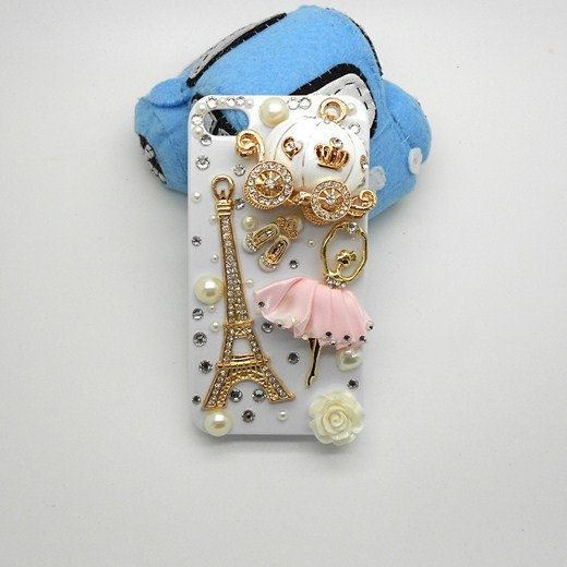 Handmade hard case for iPhone 4 & 4S: Bling Eiffel tower with ballet girl (customized arte welcome). $29.99, via Etsy.