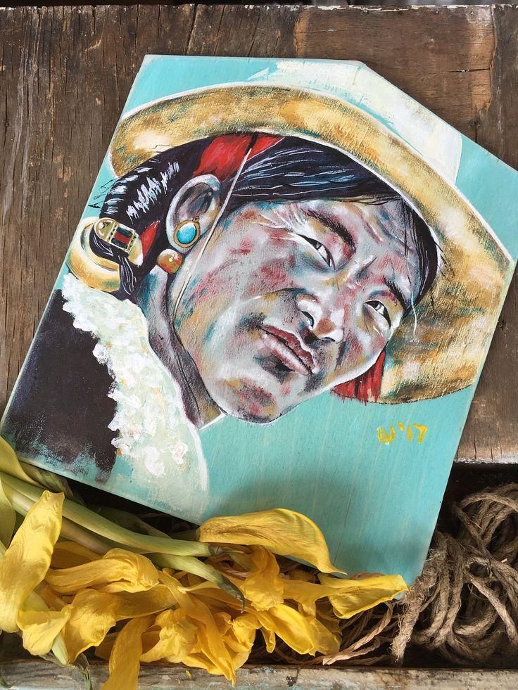 Stacy Shpak Original Tibetan man portrait painting on wood by Stacyshpak on Etsy