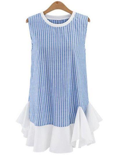 Vestito Shift A Strisce Verticale Orlato E Increspato - Azzurro