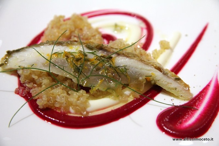 Orata marinata al finocchietto e basilico con quinoa al ginger e maionese di patate e barbine rosse - Enoteca Pinchiorri - Firenze