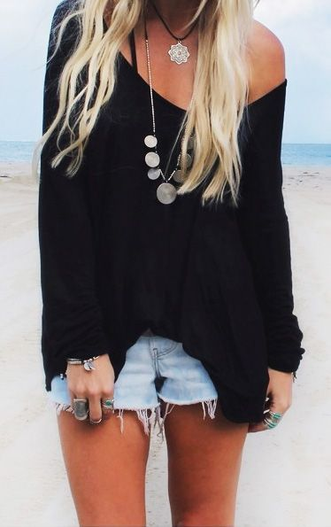 Summer look | Hippie accessories, off the shoulder black sweater and denim shorts
