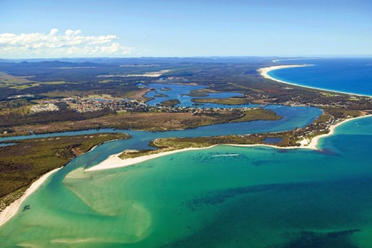 Aerial view of Tea Gardens and Hawks Nest at beautiful Port Stephens, NSW.