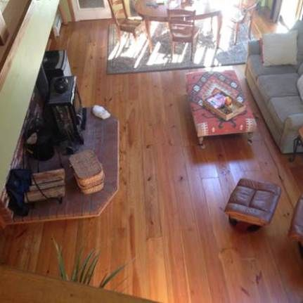 Classic Wide Heart Pine Floors with a Stain and Tung Oil Finish