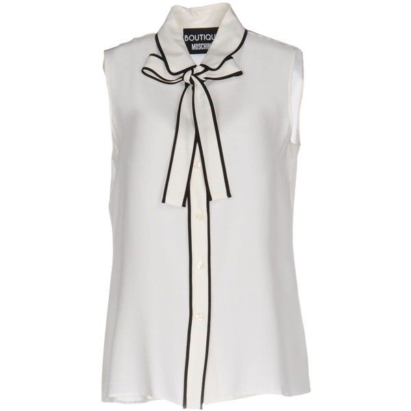 Boutique Moschino Shirt ($265) ❤ liked on Polyvore featuring tops, ivory, peter pan collar top, ivory shirt, sleeveless tops, peter pan collar sleeveless shirt and no sleeve shirt