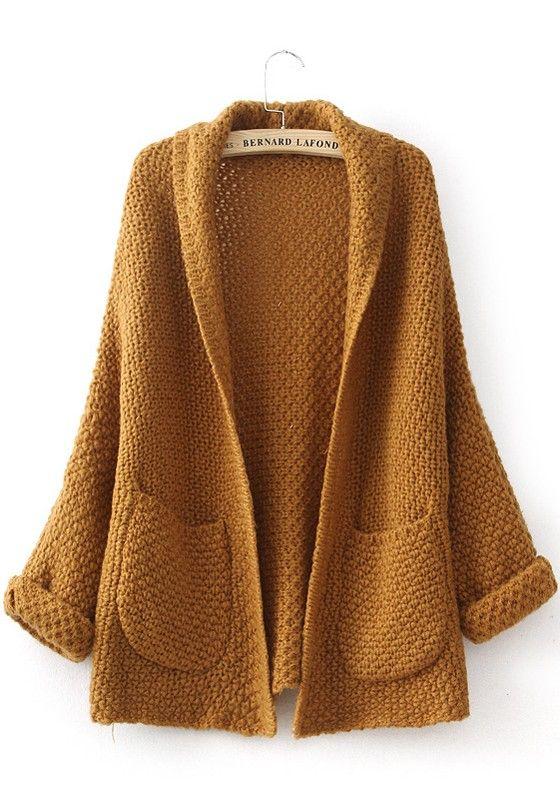 Yellow Plain Pockets Long Sleeve Cardigan