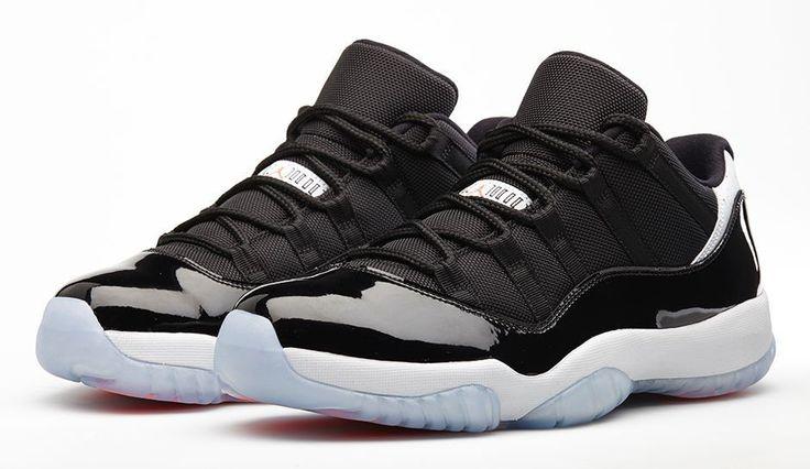 "Nike Mens Air Jordan 11 Retro Low ""Infrared"" Black/Infrared 23-Pure Platinum Synthetic Basketball Shoes"