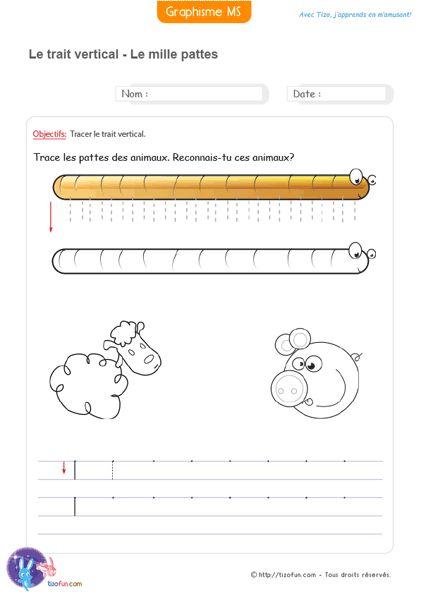 Graphisme MS La ligne verticale Les pattes du mille-pattes. Graphisme en maternelle pour apprendre le bon geste en écriture. Dessiner les pattes du mille-pattes