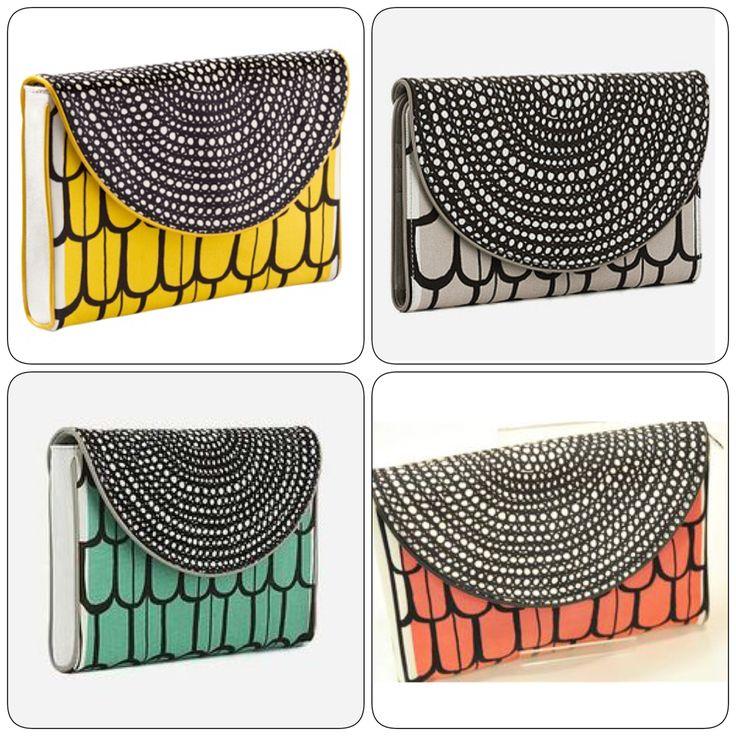 Marimekon clutch-laukku, suunnittelija Virva Launo. Ei enää liikkeissä myytävänä, jospa jostain löytyisi käytettynä. Värejä muitakin kuin kuvassa olevat. Värillä ei väliä.