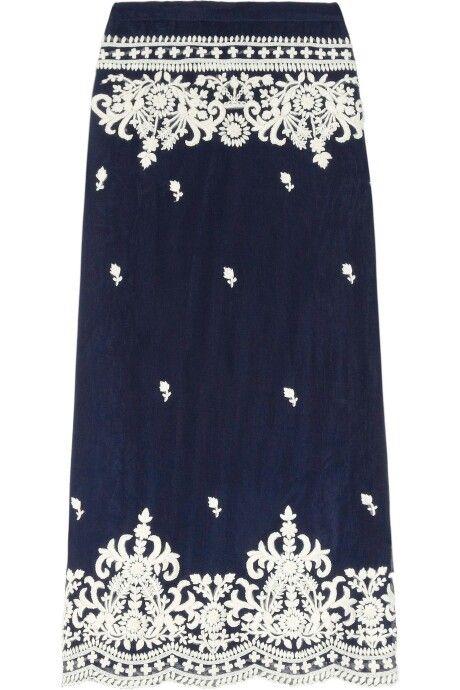 Leaves of grass aria embroidered silkchiffon maxi skirt