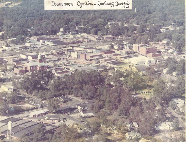 Arial view, downtown Opelika.  Image detail for -History of Opelika, Al.