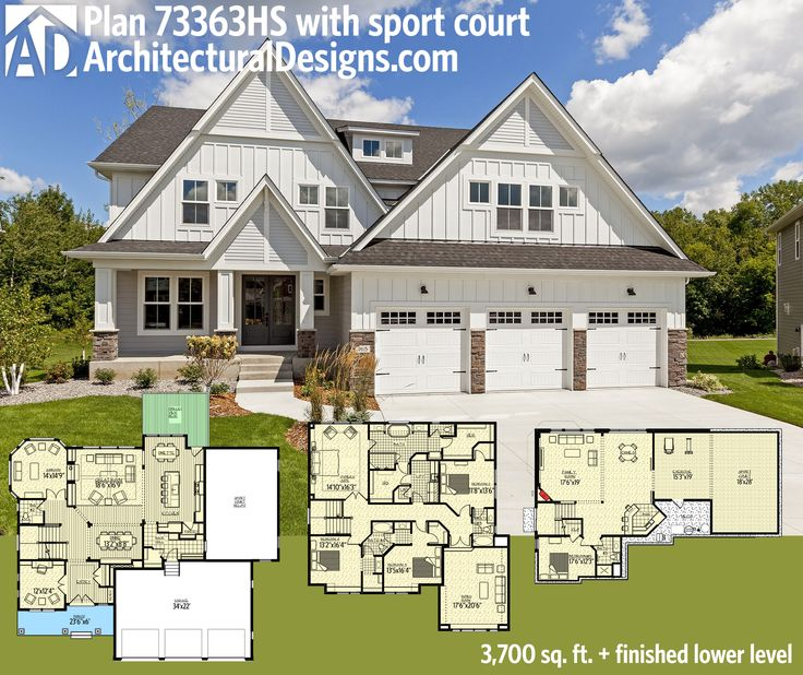 Architectural Designs Exclusive House Plan 73363HS Has A Stunning White Exterior And Sport Court In