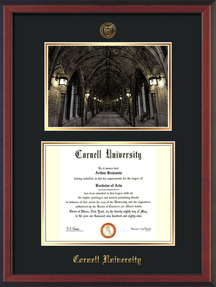 Cornell U Diploma Frame-Che Reverse-War Memorial Photo-Black on Gold – Professional Framing Company