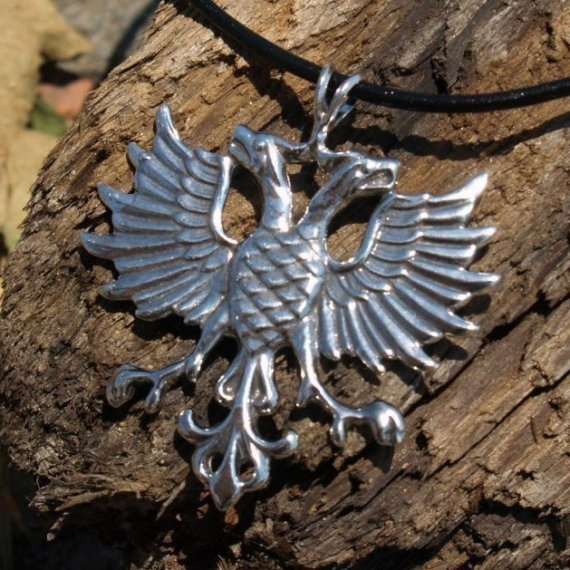 Double Headed Eagle Crest on Leather Cord by RockLove on Etsy, $95.00