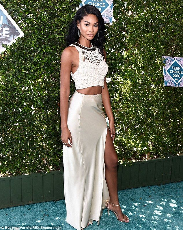 Dream in cream: Chanel Iman looked sensational on the red carpet of the Teen Choice Awards in Los Angeles on Sunday night