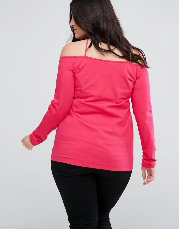 ASOS CURVE Bardot Top with Strappy Detail - Pink