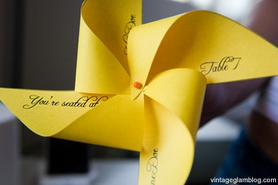 These pinwheel favors double as a seating chart. Perfect for a garden wedding as they spin in the breeze.