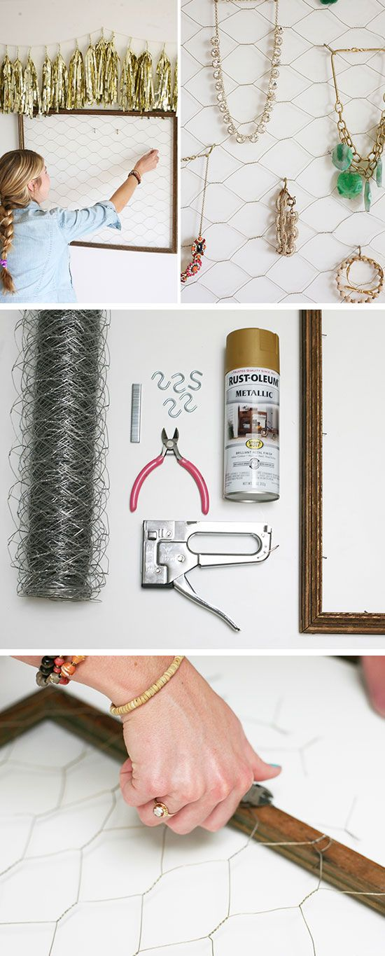 DIY Jewelry Organizer | Click Pic for 25 DIY Small Apartment Decorating Ideas on a Budget | Organization Ideas for Small Spaces