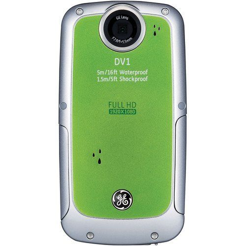 GE DV1-LG Waterproof/Shockproof 1080P Pocket Video Camera (Lime Green) by GE. $85.49. From the Manufacturer                           If you're someone always on the go, welcome to your next camera: The GE DV1 1080p HD Digital Video Camera. The sturdy metal housing of GE's Active Series digital cameras contains your favorite high-tech features along with an internal zoom lens to keep things out of the way so you can stay on the move. It's even waterproof so the fun doesn't have t...