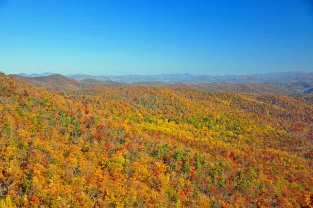 Őszi tájkép Asheville, Észak-Karolina