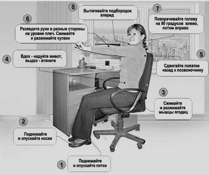 Худеть ничего не делая? Гимнастика Воробьева вам поможет. Для того чтобы делать эти простые упражнения, необходимо небольшое пространство, к примеру, рабочее место. Можно проводить их стоя или сидя, каждое упражнение должно выполняться по 40 раз. Особое внимание обратите на последнее условие, это основа данного вида гимнастики. Итак, сами упражнения.