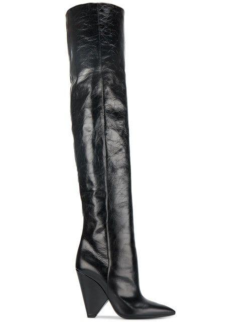 34d0138ef5a Shop Saint Laurent Black Niki 105 Leather Thigh boots
