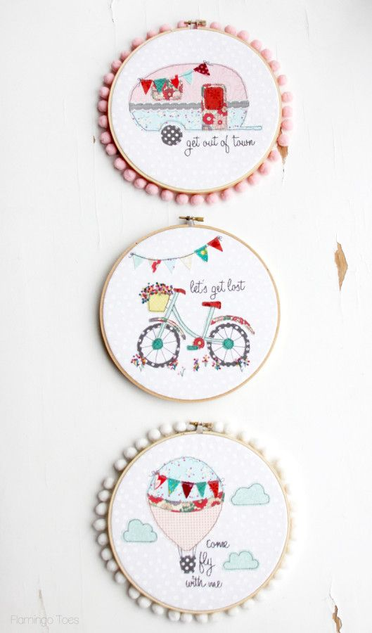 Let's Get Lost Summer Bicycle Embroidery Hoop Art -Flamingo Toes