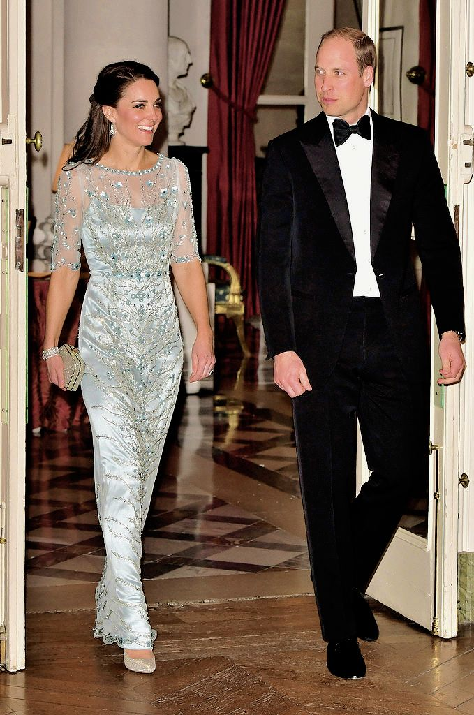 """The Duke and Duchess of Cambridge arrive for a dinner hosted by Her Majesty's Ambassador to France, Edward Llewellyn, at the British Embassy in Paris, as part of their official visit to the French..."