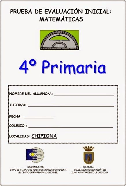 Prueba de Evaluación Inicial del área de Matemáticas para 4º Nivel de Educación…