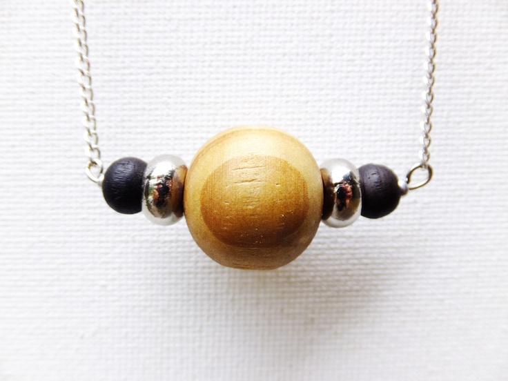 Wooden bead and, silver beads, black wooden beads on silver necklace. Now available through my website www.eklecticmix.com.au