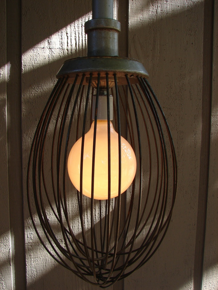 Upcycled Vintage Industrial Whisk Pendant by BenclifDesigns. I have a light just like this one with an edison bulb hanging above our stove!