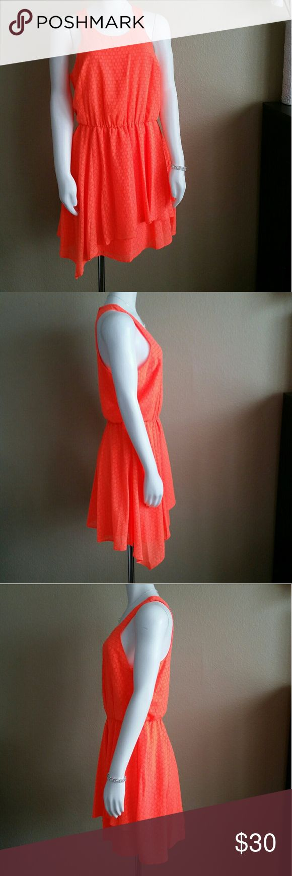 New! GB Neon Orange Asymmetrical Dress Neon orange dress with elastic waist. 100% polyester textured fabric (see last picture). Size L Juniors. GB Dresses Asymmetrical