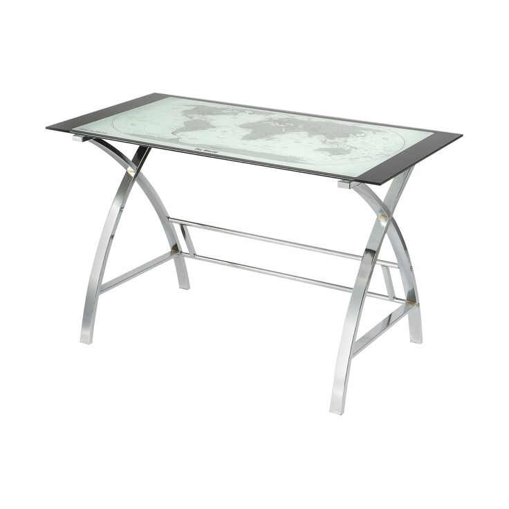 Christopher World Map Metal (Grey) Computer Desk - Silver - Oak Grove Collection