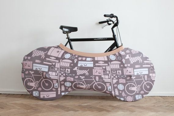 {Bike bag} a Velo sock protects the home from debris/sand a bike brings in from outdoors. This is so cool! LOVE the fabric (has a Dachshund on it!)