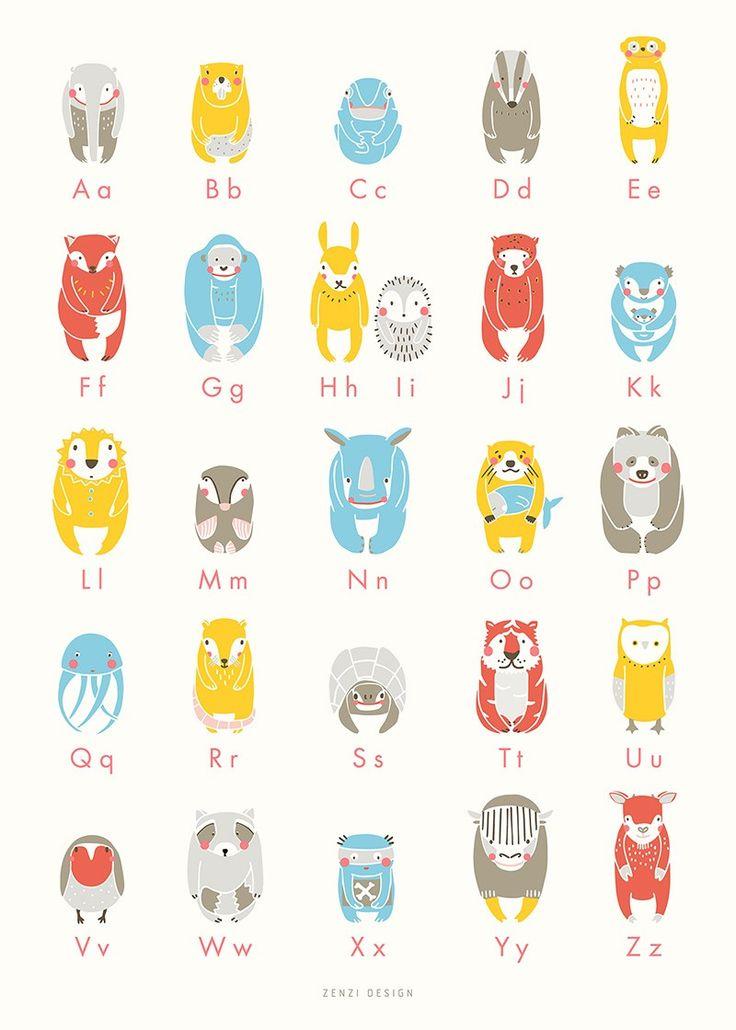 <p><strong></strong>Een prachtige poster van ZENZI Design op een ivoor achtergrond met allerlei grappige dieren, de letters en sommige accenten zijn in koraal neon.<br />De poster isoffset gedrukt op 150 Munken papier.</p>