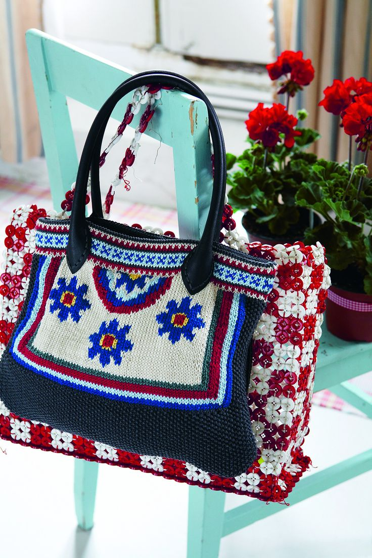 105 best ladies knitting patterns images on pinterest knit womens tote bag with a bright floral design shop this pattern at the knitting network bankloansurffo Gallery
