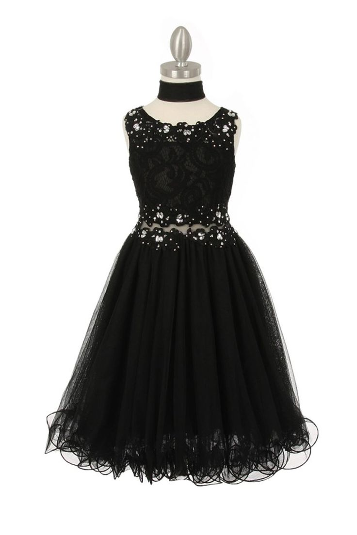 Black dress goals - Black Sleeveless Lace Flower Girl Dress With See Through Waistline