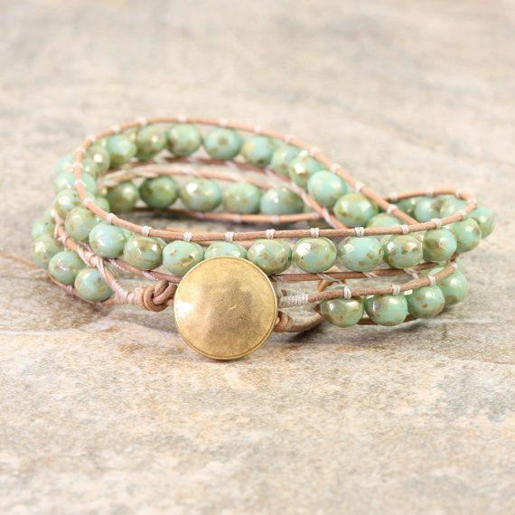 Menta Wrap verde bracciale cuoio naturale gioielli doro Wrap bracciale crema impacco bracciale Boemia gioielli doppio involucro Boho oro