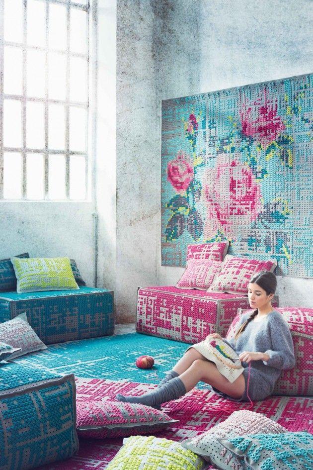 Cross stitch furniture and wall art