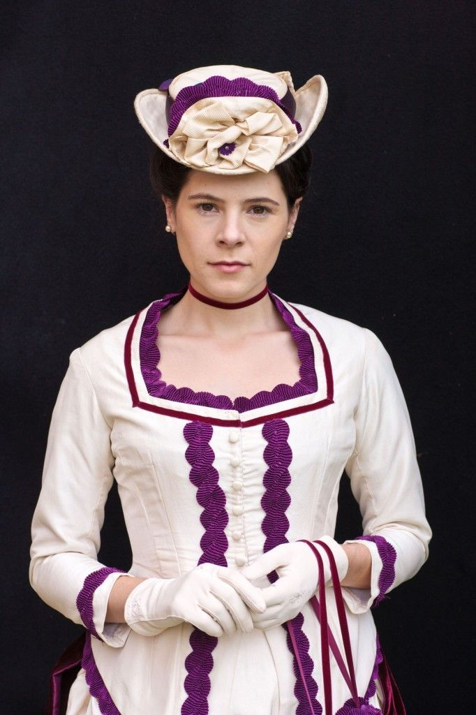 Elaine Cassidy as Katherine Glendenning / Costume Designer Joanna Eatwell and Costume Assistant Clare Vyse. BBC PBS' The Paradise - Victorian Gown Costume Dress - purple white